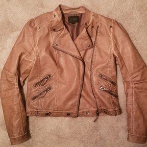 Blu Pepper Brown Leather Moto Jacket